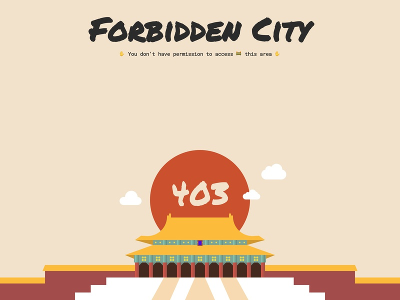 Forbidden City 403 Page web access forbidden city illustration forbidden page 403 css code codepenchallenge