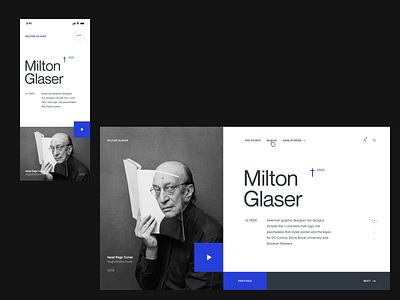 Milton Glaser - Design Exploration design exploration layout type ui desktop editorial grid concept webdesign branding mobile product design web design minimal monochrome article page about page responsive design hero