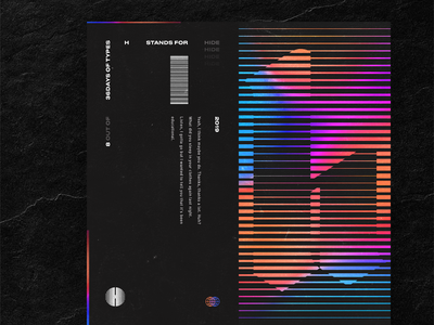 H stands for Hide (or Hello) hello type logo ui gradient vhs stripe holographic h 36 days typography design illustration