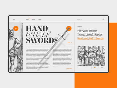 The Academy of the Sword - 2 webdesign web sword editorial desktop type layout design exploration orange ui academy