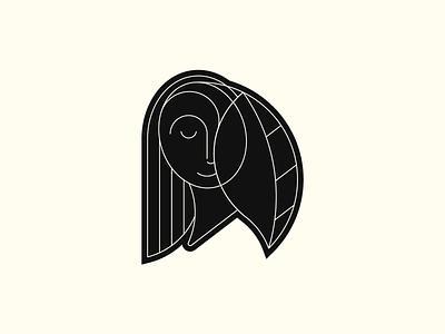 Girl Pin illustration face form symbol girl face girl grid logo shape line design