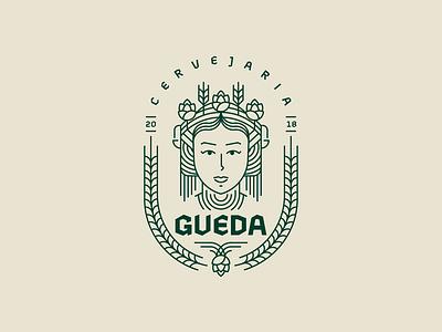 Gueda Brewing Co. pattern geometry brand vector design symbol woman woman illustration woman logo cheers gueda hop shape line beer art golden ratio grid logo goddess beer