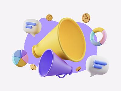 Main Illustration for referral landing page referral bussines money gold coins messages piechart speaker horn blender3d restream 3d illustration