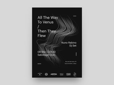 All The Way To Venus + Then They Flew gig poster swiss lisbon rock black and white lines minimalism gig poster poster gig music