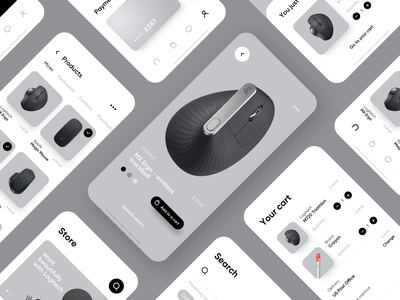 ESTORE Concept michal jakobsze unikat minimal grey simple electronic mouse store mobile app