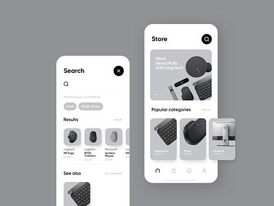 ESTORE Concept michal jakobsze unikat minimal grey simple electronic mouse store mobile app