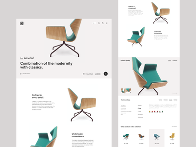 Bejot - product and products lists michal jakobsze unikat home shop animation clean flat web product simple geometic black conferece wood office furniture minimalistic white chair
