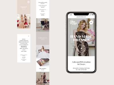 Place for Dress - mobiles (animation) minimalistic homepage welcome hero fadein menu animation simple flat white serifs jakobsze michal unikat dress elegant iphone mobile