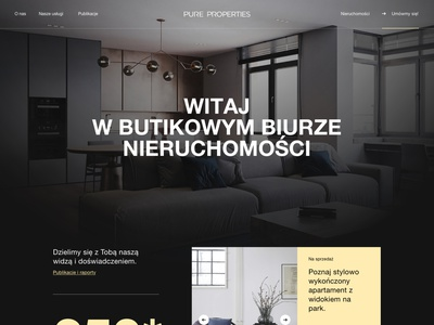 Pure Properties (BH case study) jakobsze unikat michal minimalistic black simple flat mobile helvetica clean grid gold interior realestate elegant iphone welcome hero numbers outline