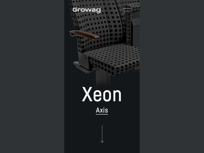 Growag - mobile product page animation seat dark black tech growag blue train 3d render seats