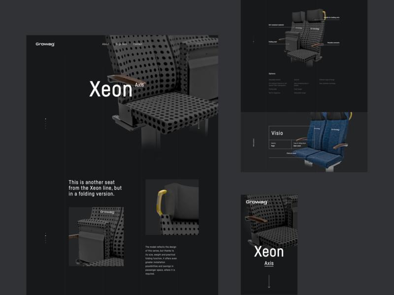 Growag - product page seats render 3d train blue growag tech black seat