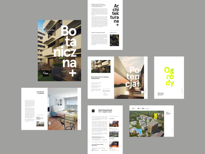 Botaniczna - brochure screens michal jakobsze unikat a4 brochure yellow lemon interior green flat development estate real botaniczna apartament