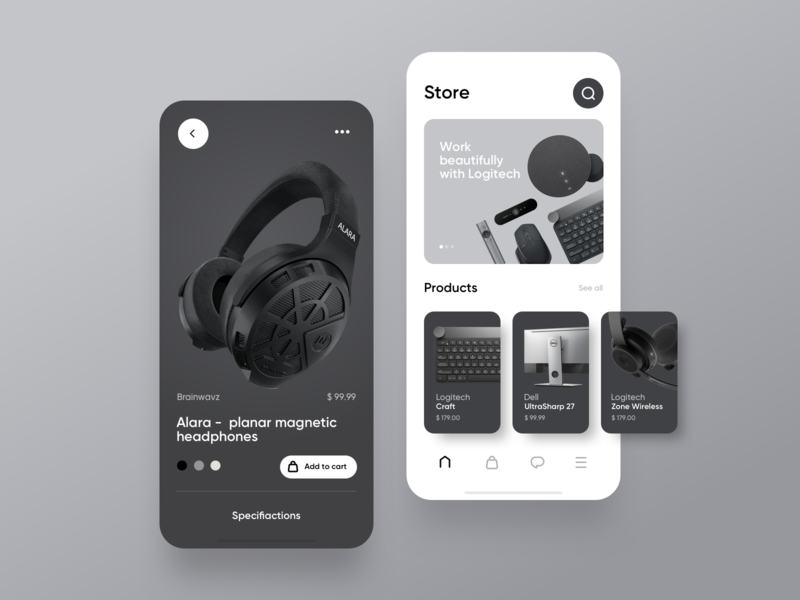 Ecommerce store concept minimalistic keyboard screens shadows rounded app iphone black white simple ecommerce headphones tech