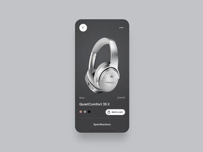 Product screen concept (.prd file attached) animation tech headphones ecommerce simple white black iphone app rounded shadows screens keyboard minimalistic