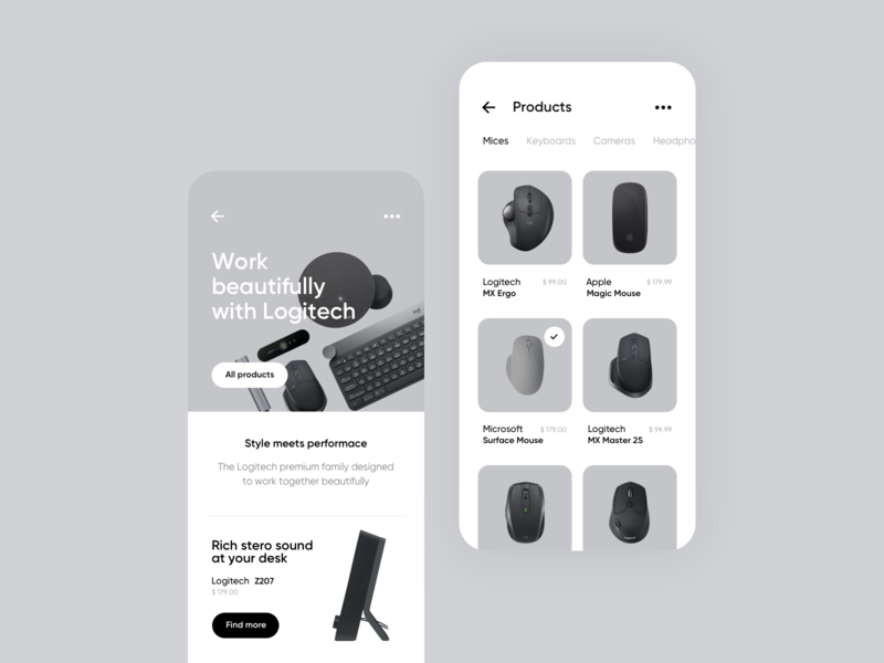 Ecommerce store concept tech headphones ecommerce simple white black iphone app rounded shadows screens keyboard minimalistic