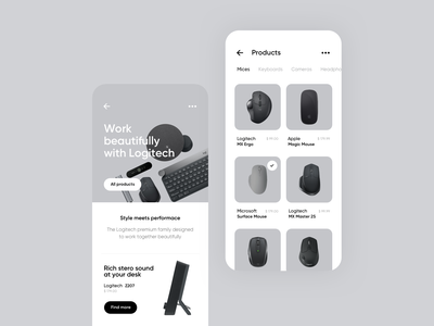 Ecommerce store concept michal jakobsze unikat tech headphones ecommerce simple white black iphone app rounded shadows screens keyboard minimalistic