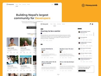 Honeycomb - A community for people in tech ui-thinking ui-design webdesign design nepal uiux web-ui desktop web ui
