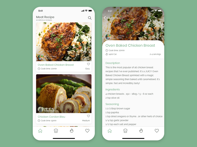 Recipe Card design recipe card recipe app mobile app mobile ui ui  ux ui