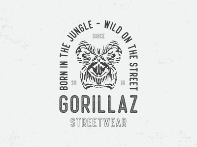 Gorillaz Streetwar art brand graphic graphic design icon illustrator lettering logotype retro t-shirt type badge vintage drawing vector typography logo illustration design branding