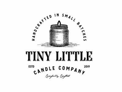 Tiny Candle candle badge vintage badge logo type lettering art web website vector ux ui typography logo illustration icon design branding app