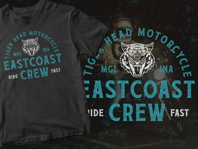 Eastcoast - Motorcycle Club Logo rustic distressed texture tiger vintage badge apparel motorcycle freebie freebies branding badge logo vector font badge vintage typeface illustration typography logo design