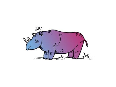Rhino colors animal degraded rhino 2d illustrator vector