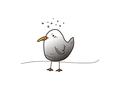 Seagull gray flat colors animal degraded seagull 2d illustrator vector