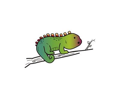 Chameleon green flat colors animal degraded chameleon 2d illustrator vector
