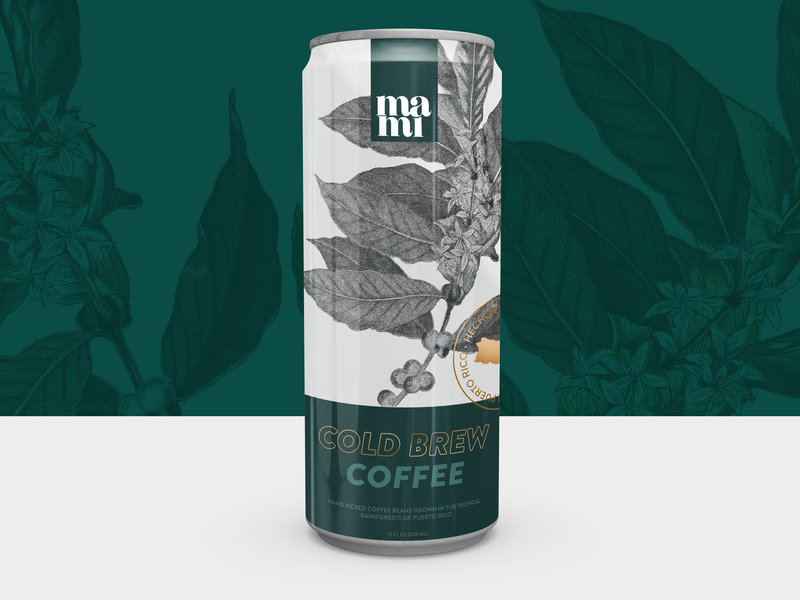 Cafe Mami - Cold Brew cafe illustration green concept packagingdesign packaging can design product coffee bean puertorico can coffee cold coffee coldbrew