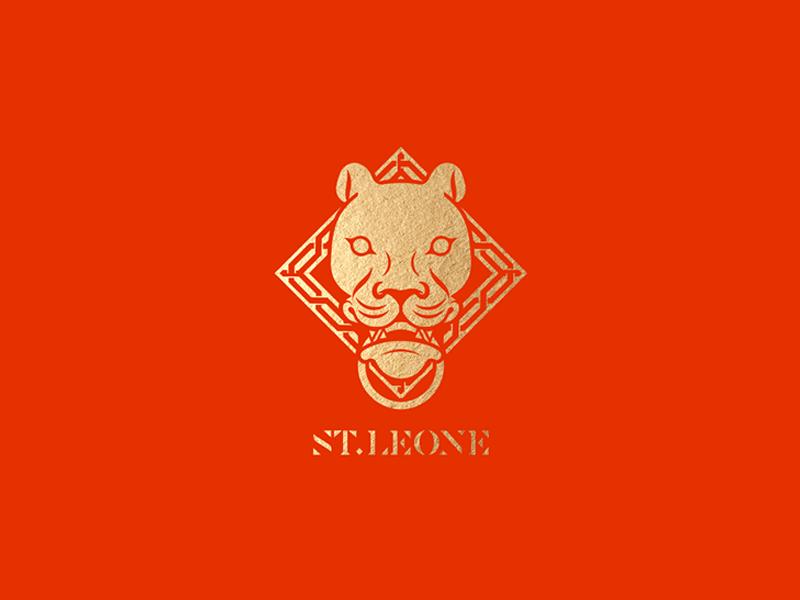 Saint Leone Logo islamic geometric pattern sierra leone serif typeface gold red lioness portuguese emblem lion logo