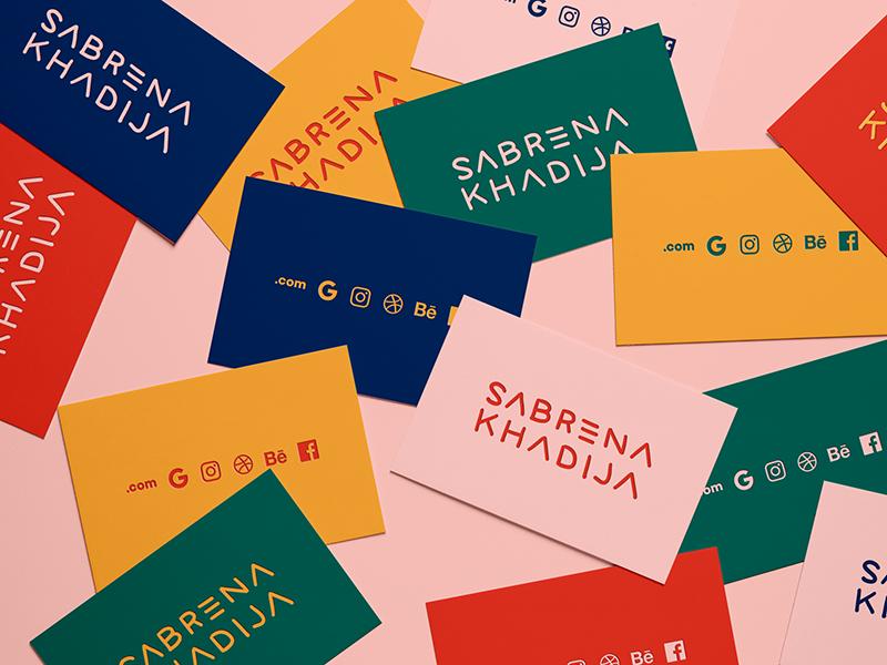 Sabrena Khadija Business Cards colorful palette color cards business design logo identity branding