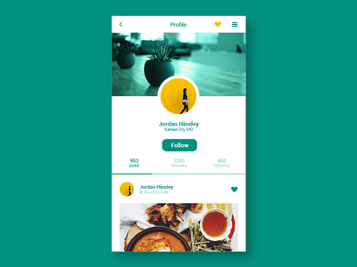 Daily UI - 006 - User Profile mobile layout user profile daily ui