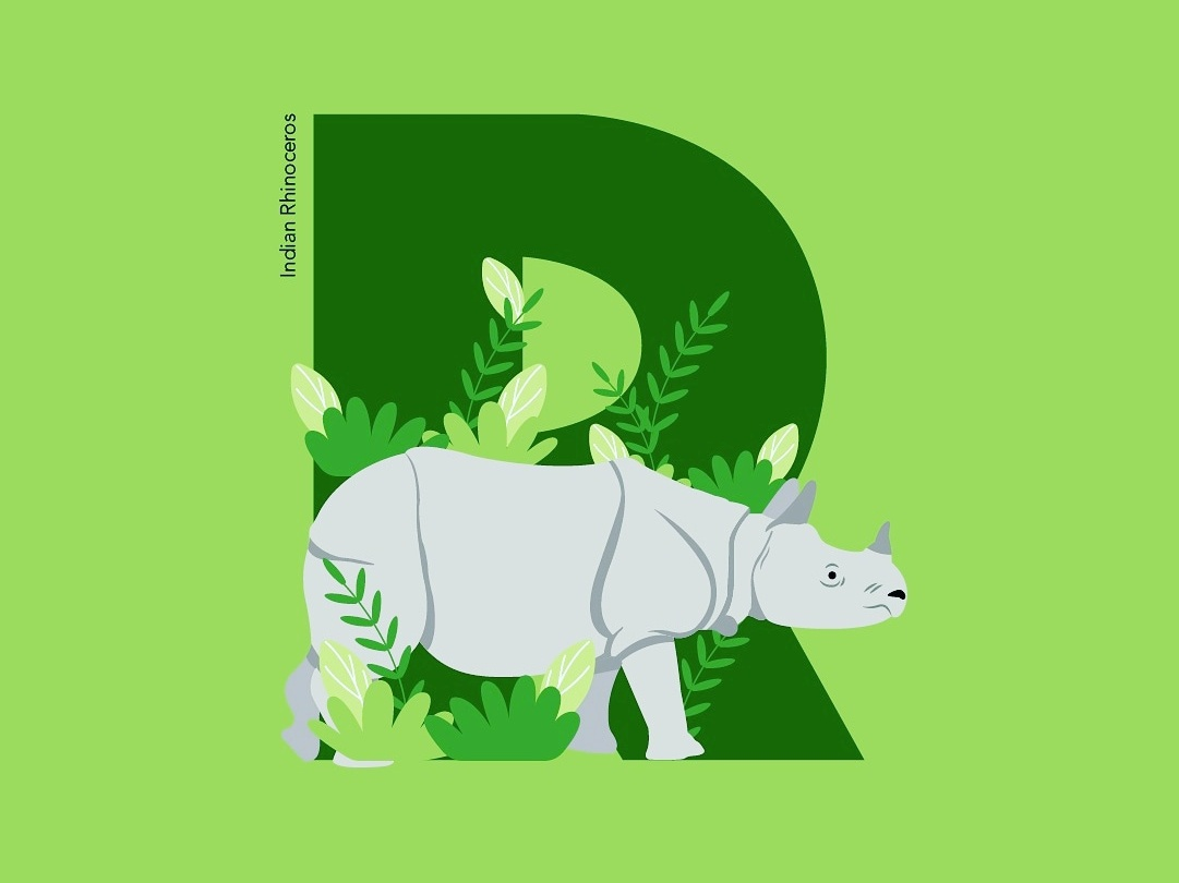 36Days of Type - R indian rhino 36daysoftype animal-illustration conservation illustration lettering typography