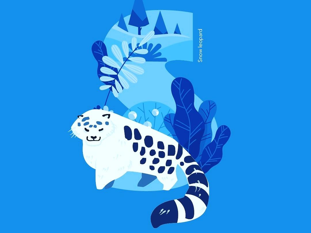36Days of Type - S snow leopard big cats 36daysoftype animal-illustration illustration typography