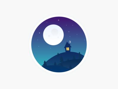 Good night sponge hills forest house mark color gradiens emblem illustration night