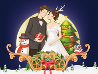 The wedding theme of Christmas and the Spring Festival