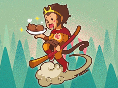 Monkey King eats pig's feet