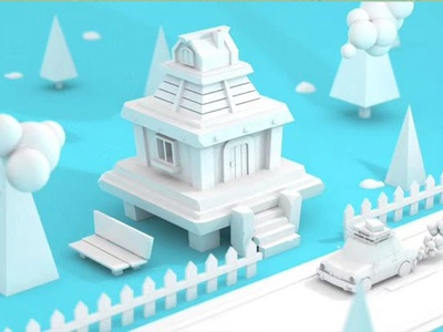 3D White model house