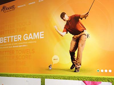 Golf Homepage 3 grass website pagination card golf golfer lighting frog hero marquee