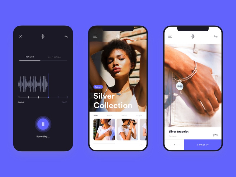 Tot-em - Product and Sound Recorder - Mobile - sound wave purple web ecommerce recorder record sound black product mobile app design white website ux ui typography branding
