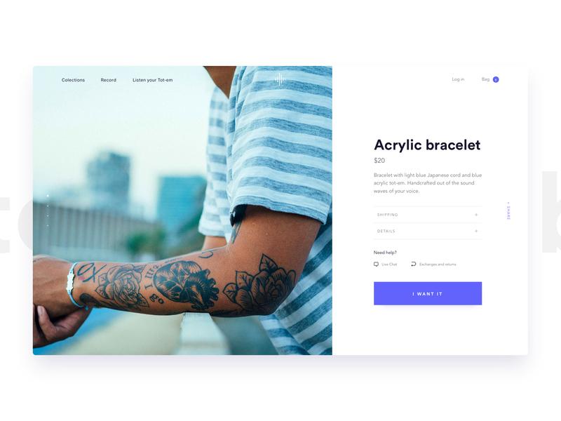 Tot-em - Product Page - design bracelet ecommerce product purple web jewelry white website ui ux typography branding