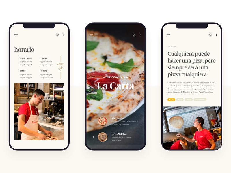 Grosso Napoletano - Mobile - neapolitan napoli naples restaurant app restaurant pizza madrid food app food mobile responsive web design illustration website ux ui typography branding