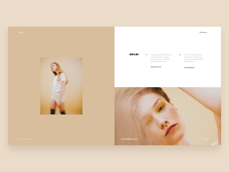 Dale! - Gallery fashion gallery model art direction photo editorial web design design website ux ui typography branding