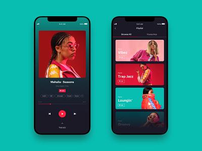 Muzik Vibez Player - Music App Concept - music player app music player ui mahalia pink green playlist music player music app music responsive mobile app mobile app concept app website web design design ux ui