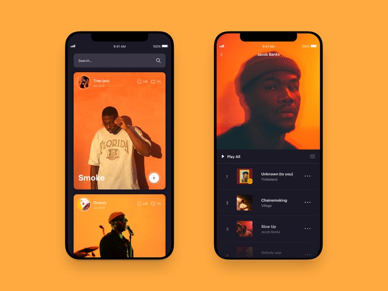 Muzik Vibez Player - Music App Concept - orange yellow playlist jacob banks music player app music player music app music responsive mobile app mobile app concept app web design design website ux ui