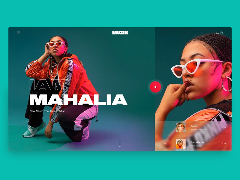 Muzik Vibez Player - Music App Concept - Desktop - playlist hero home red green mahalia music player ui music player music app music app web design design typography branding website ux ui