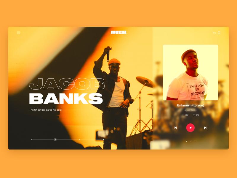 Muzik Vibez Player - Music App Concept - Desktop - hero home orange yellow jacob banks playlist music player ui music player music app music app web design design branding typography website ux ui