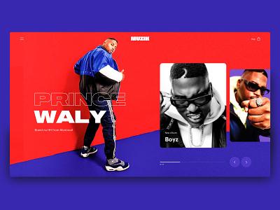 Muzik Vibez Player - Music App Concept - Desktop - music player ui prince waly hero home slider music website music app music blue red web design design branding typography website ux ui