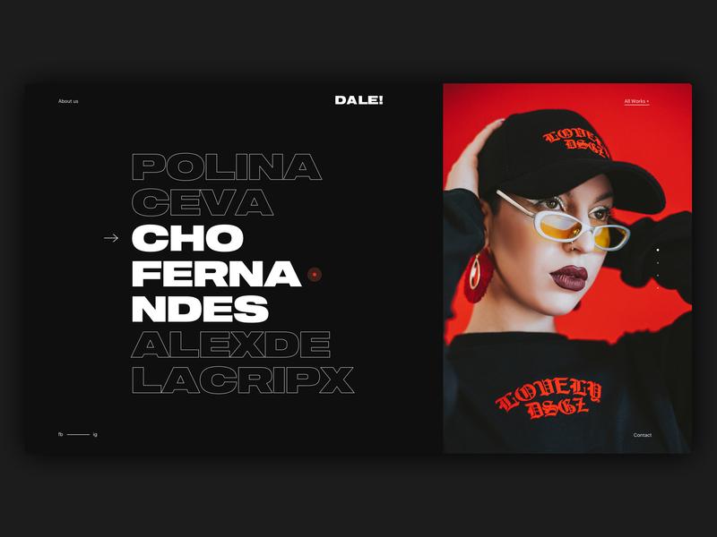 Dale! -Menu- editorial art direction menu model photography photo black and red red black fashion web design design branding typography website ux ui