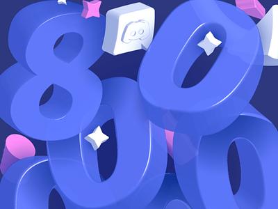 800k Followers for Instagram illustrator 3d